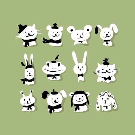 funny animal: Conjunto de animales divertidos para su dise�o