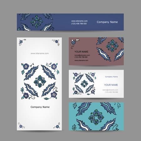 Set of business cards design, turkish ornament Vector