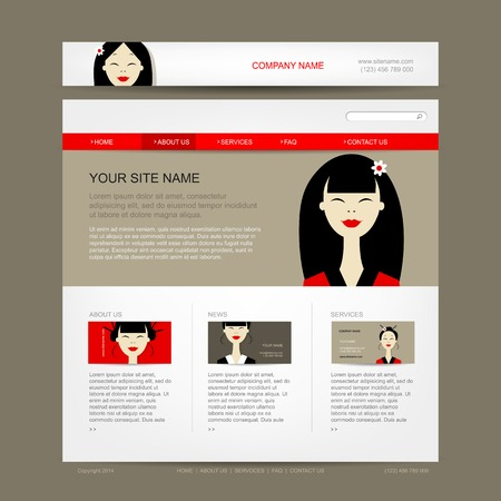 Website design template with asian woman Vector