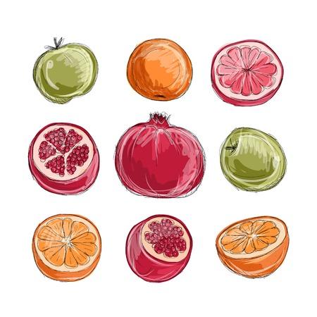 pomegranate juice: Set of fruits, sketch for your design