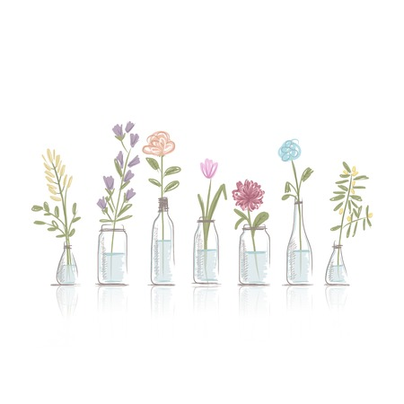 Set of floral pots for your design Vector