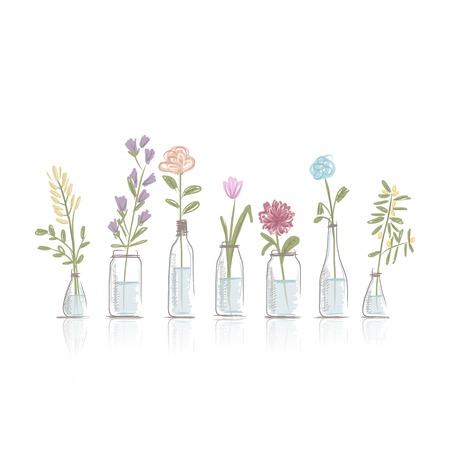 Conjunto de macetas de flores para su diseño