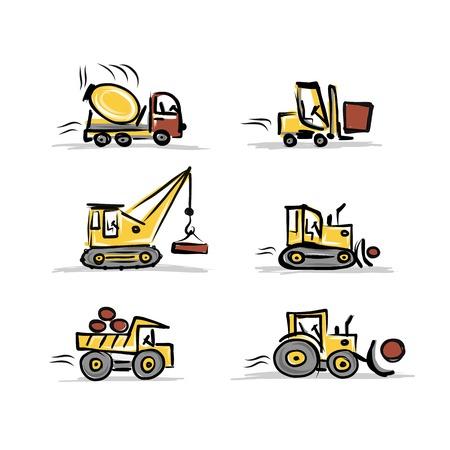excavating machine: Set of construction equipment for your design