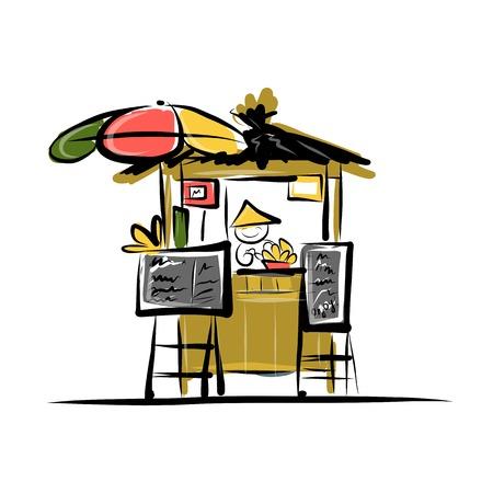 거리 시장에 아시아 소매 판매자, 디자인을위한 스케치 일러스트
