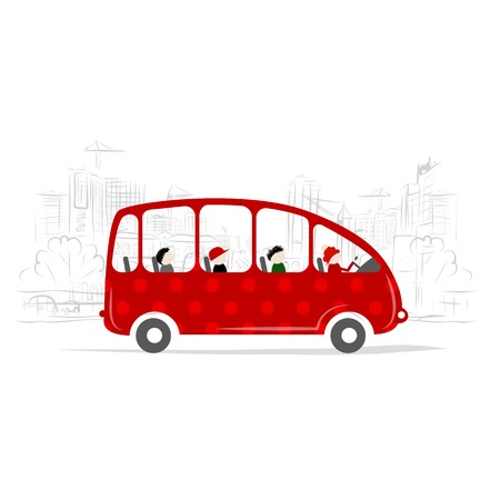 Red bus with people on the city street Vector