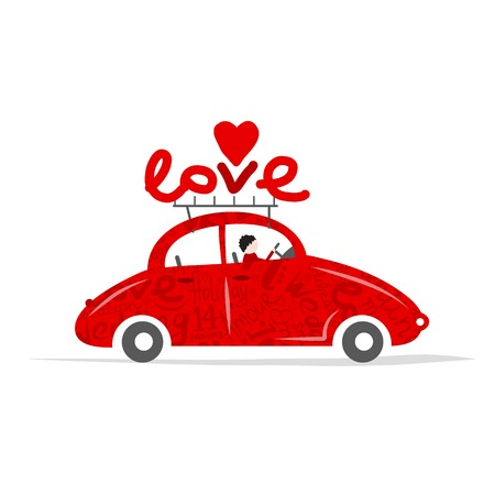 Love red car for your design Vector