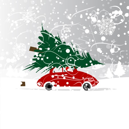 Car with christmas tree, winter blizzard for your design Illustration