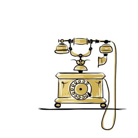 Retro telephone, sketch for your design Vector