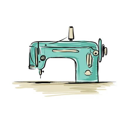 quilt: Sewing machine retro sketch for your design Illustration