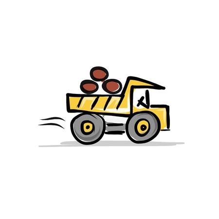 mat�riel chantier: Dumper, mat�riel de construction pour votre conception Illustration