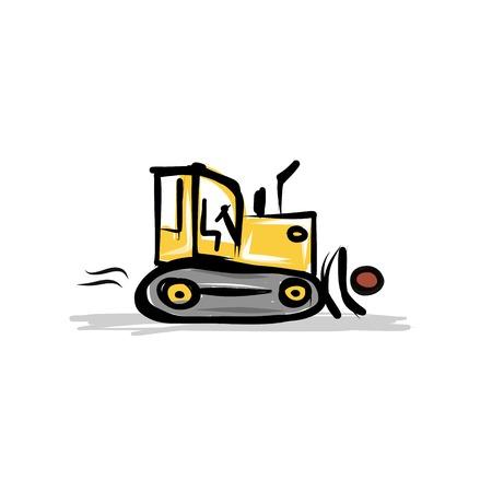 mat�riel chantier: Caterpillar tracteur, mat�riel de construction pour votre conception Illustration