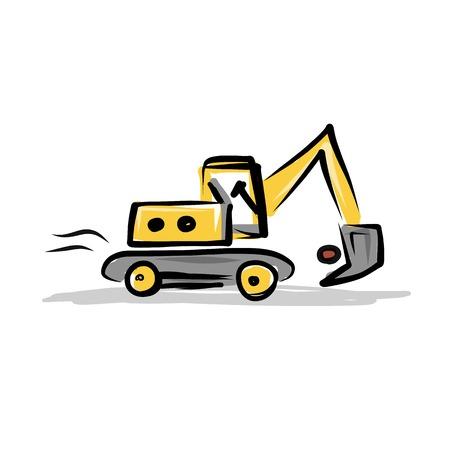 mat�riel chantier: Pelle sur chenilles, mat�riel de construction pour votre conception Illustration