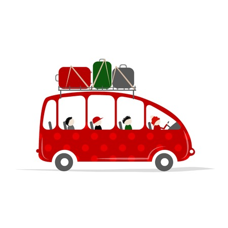 family holiday: Travel bus with people and luggage on the roof