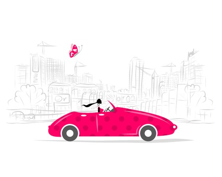 convertible car: Woman driving car for your design