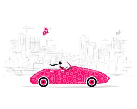 Vrouw rijdende auto voor uw ontwerp