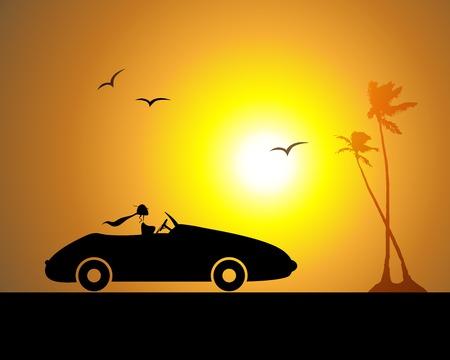 Femme conduisait la voiture, coucher de soleil