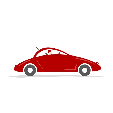 Man driving red sport car for your design Vector