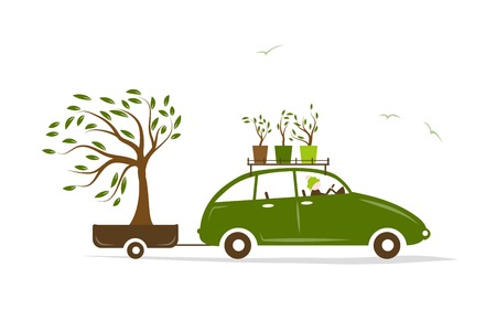 car garden: Cottager driving green car with tree in trailer Illustration
