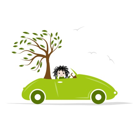 car leaf: Woman carry tree by green car for your design