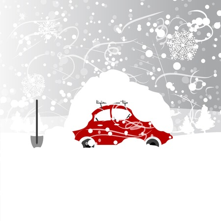 Car with snowbank on roof, winter blizzard Ilustracja