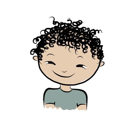 handsome boys: Cute boy smiling, sketch for your design