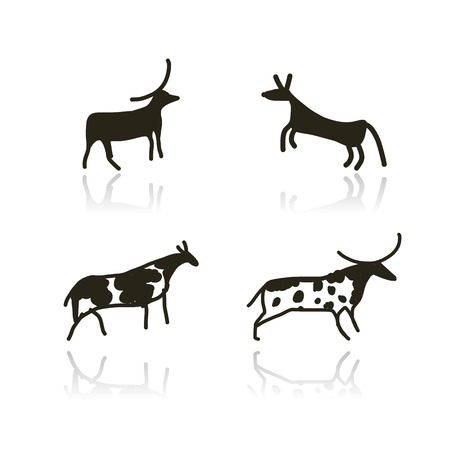 Rock paintings, ethnic animals sketch for your design Vector