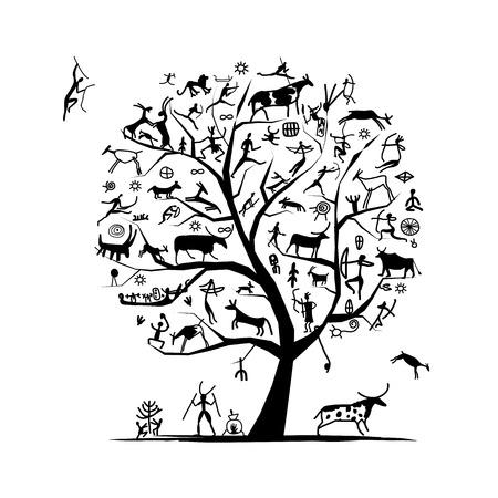 cave painting: Pinturas rupestres árbol, boceto de su diseño