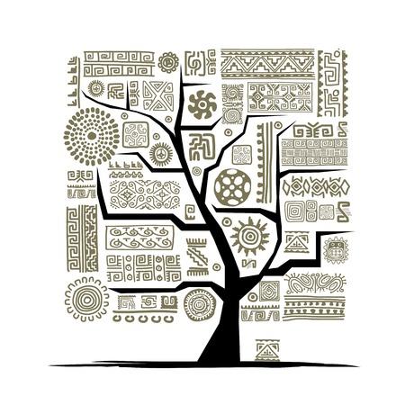 Albero etnica con ornamento a mano per il vostro disegno