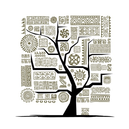 handmade graphic texture: Ethnic tree with handmade ornament for your design