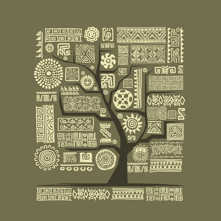 Ethnic tree with handmade ornament for your design Stock Vector - 29228136