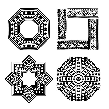 Frame set with ethnic handmade ornament for your design Stock Vector - 29228139