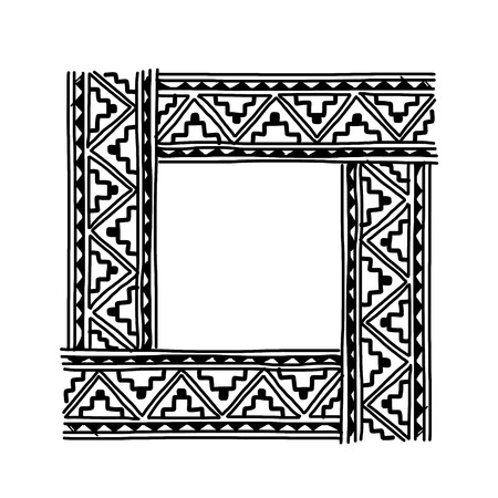 Frame with ethnic handmade ornament for your design Stock Vector - 29228140
