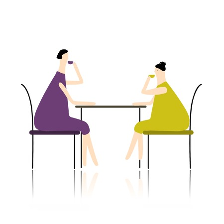 Women drink tea in cafe, sketch for your design Vector