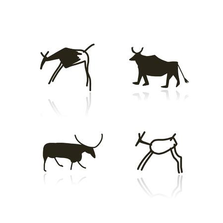 Pinturas rupestres, animales étnicos boceto de su diseño