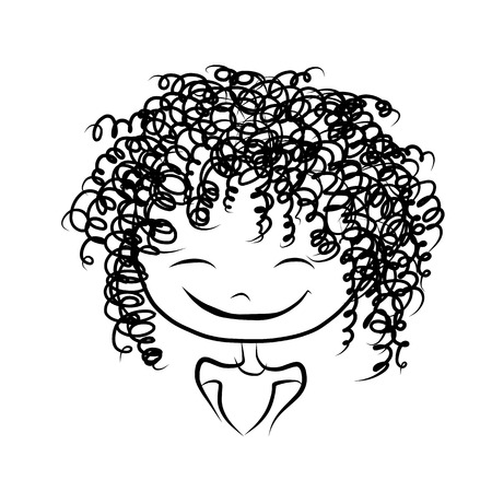 frizzy: Cute girl smiling, sketch for your design