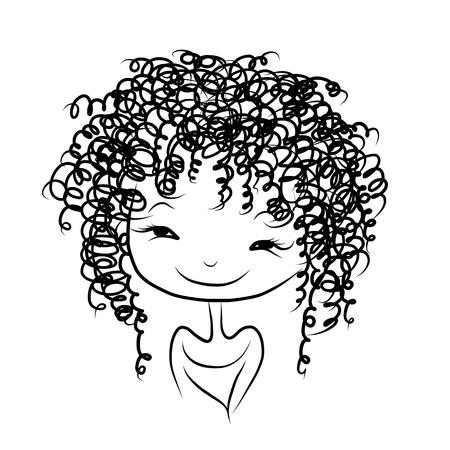 Cute girl souriant, croquis pour votre conception
