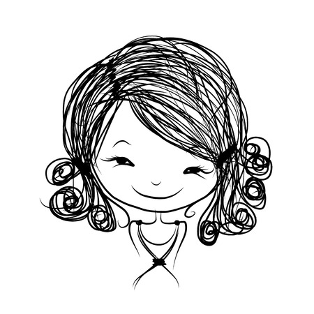child hair: Cute girl smiling, sketch for your design