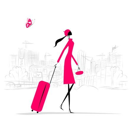 mujer con maleta: Forme a la mujer con la maleta, fondo del paisaje urbano