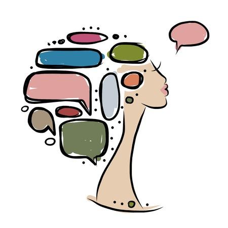 cabeza femenina: Cabeza de mujer con los marcos, el concepto de infograf�a