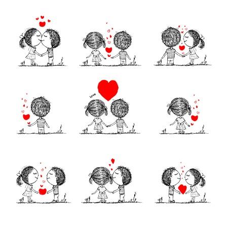 Pareja en el amor juntos, croquis san valentín para su diseño Foto de archivo - 29228192