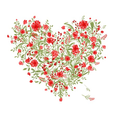 love shape: Floral love tree for your design, heart shape