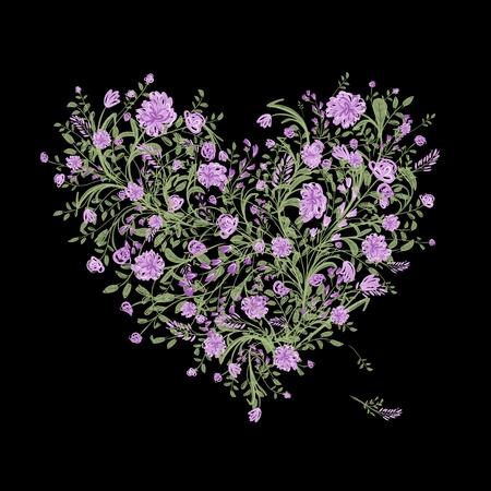 silhouette fleur: Arbre d'amour floral pour votre conception, forme de coeur Illustration