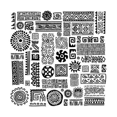 Etnische handgemaakte sieraad voor uw ontwerp Stock Illustratie