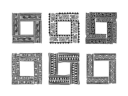 indian tattoo: Frame with ethnic handmade ornament for your design