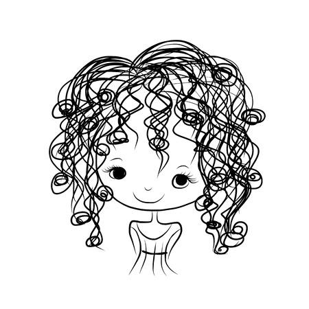 웃는 귀여운 소녀, 디자인을위한 스케치 일러스트