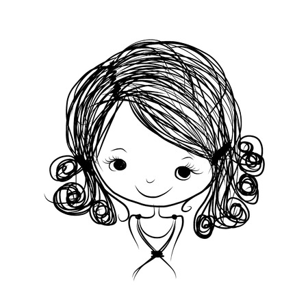 girl cute: Cute girl smiling, sketch for your design