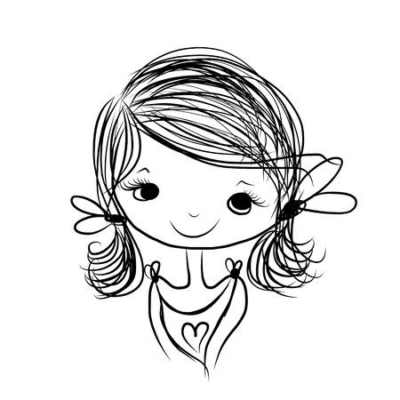Linda niña sonriente, boceto de su diseño Foto de archivo - 29228231