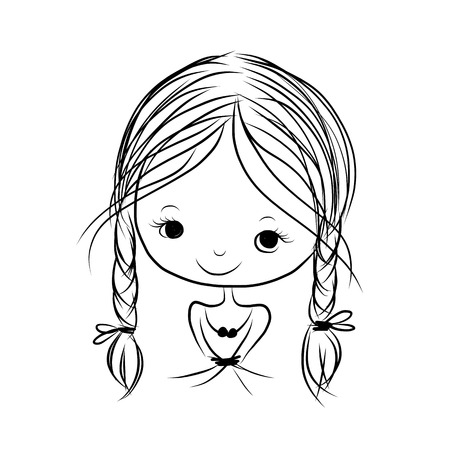 black baby girl: Cute girl smiling, sketch for your design