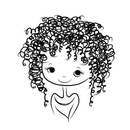 Het leuke meisje glimlachen, schets voor uw ontwerp