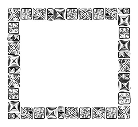 Frame with ethnic handmade ornament for your design Stock Vector - 29253611